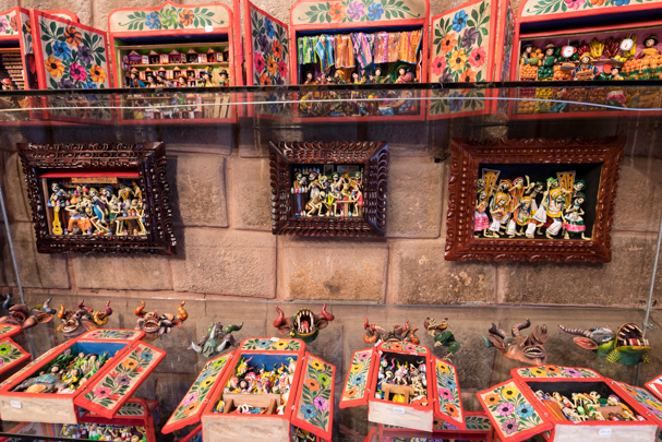 Traditional altars at Pomataylla Textile Store Cusco